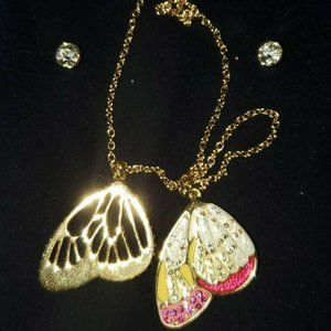 Swarovski butterfly wings necklace & earrings